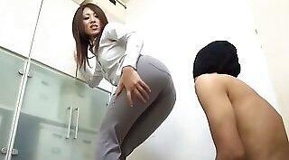 Japanese slut secretary bum banged by pastor