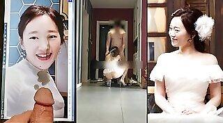 Bald headed stud blows korean slut hard until she gives up and gets his load on wit