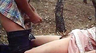 Astonishing brunette babe has wild session outdoors