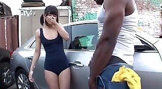 Black Alison Luna Cums Over White Dude
