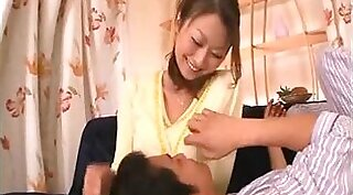 Smooth Asian body gets milk