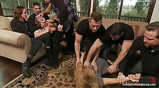 Addicted to gangbang blondie provides share of Adam - his water cocks