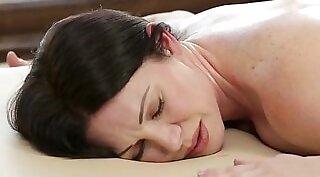 MILF stepmom Karlie Stone gets sexy massage and fuck